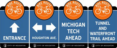 Bike street signs in the City of Houghton