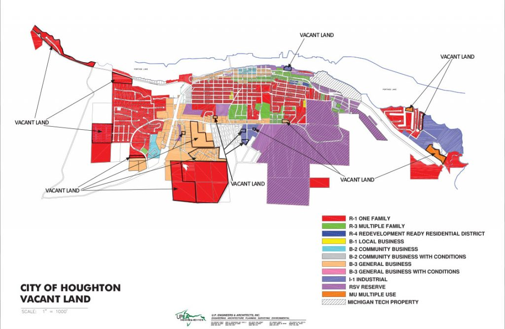 City of Houghton Vacant Land Map
