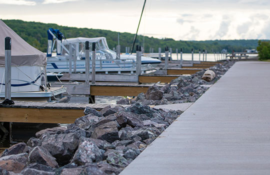 Boats docked at Houghton County Marina