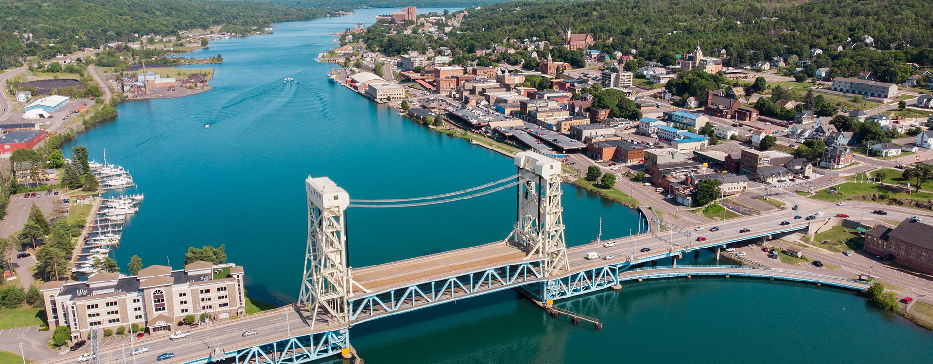 aerial view of the city of Houghton and lift bridge