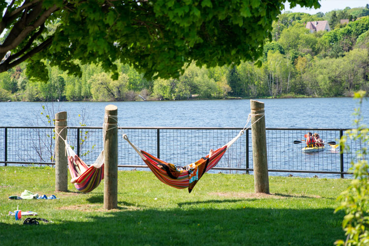Hammocks on the waterfront in Houghton